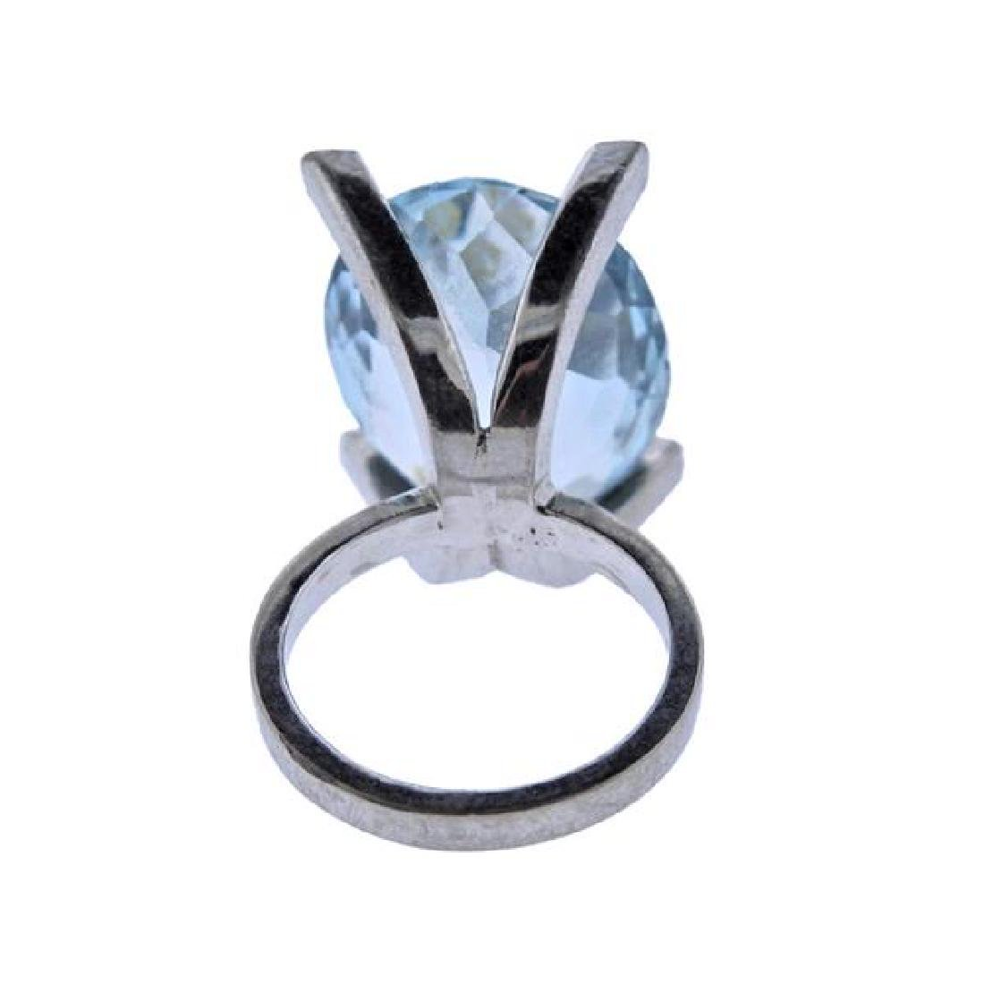 18K Gold 16.5ct Aquamarine Diamond Cocktail Ring - 3