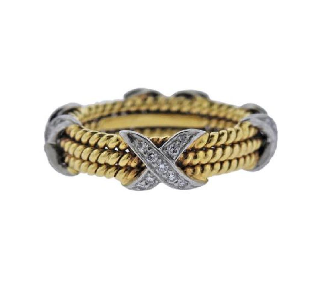 Tiffany & Co Schlumberger 18K Gold Platinum Diamond