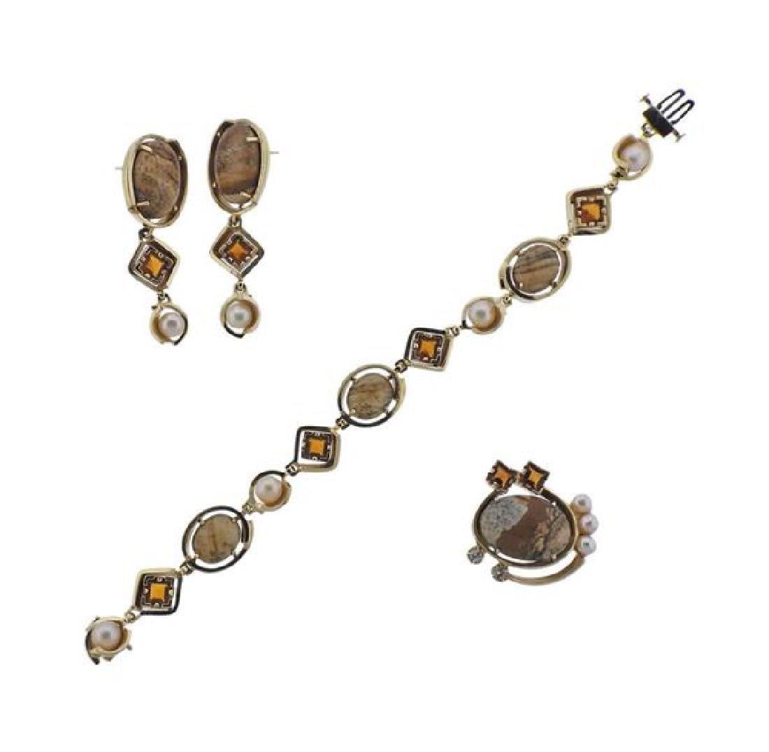 14K Gold Sterling Gemstone Bracelet Earrings Clip Set