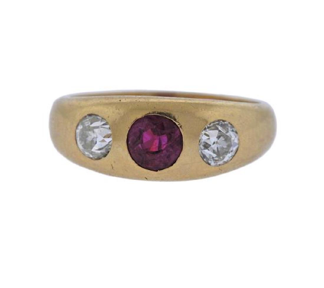 Ryrie Brothers 18K Gold Diamond Ruby Ring