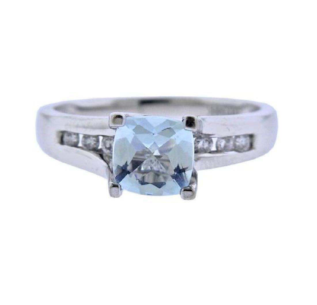 14K Gold Diamond Blue Gemstone Ring