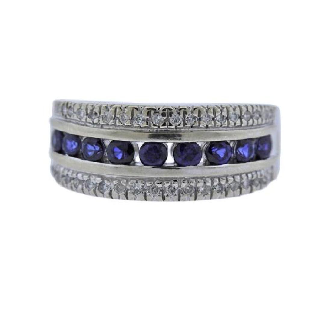 14K Gold Diamond Sapphire Band Ring