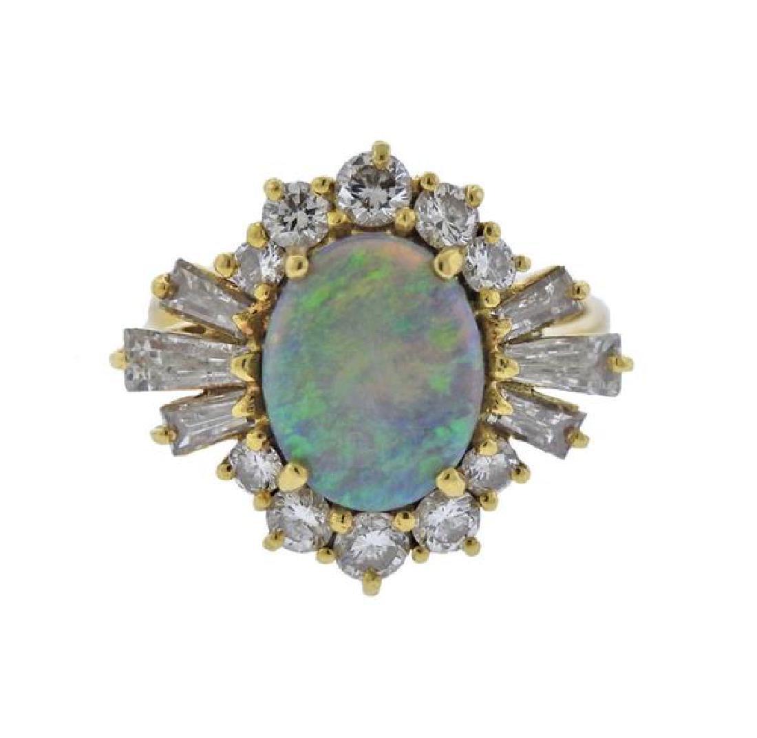 18K Gold Diamond Opal Ring