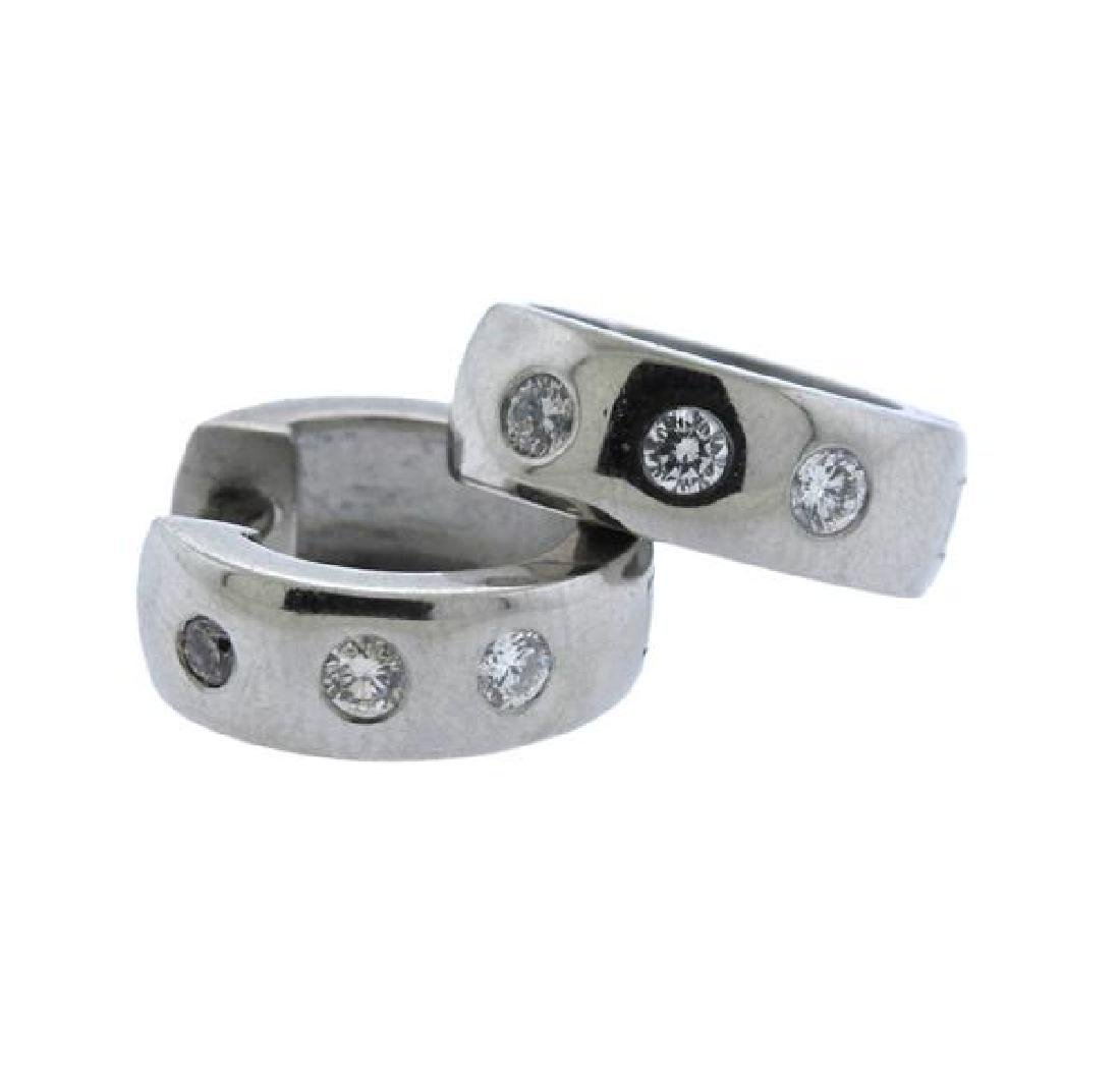 Platinum Diamond Huggie Earrings
