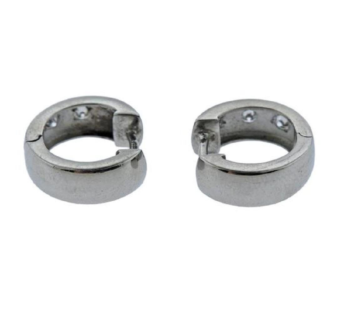 Platinum Diamond Huggie Earrings - 3