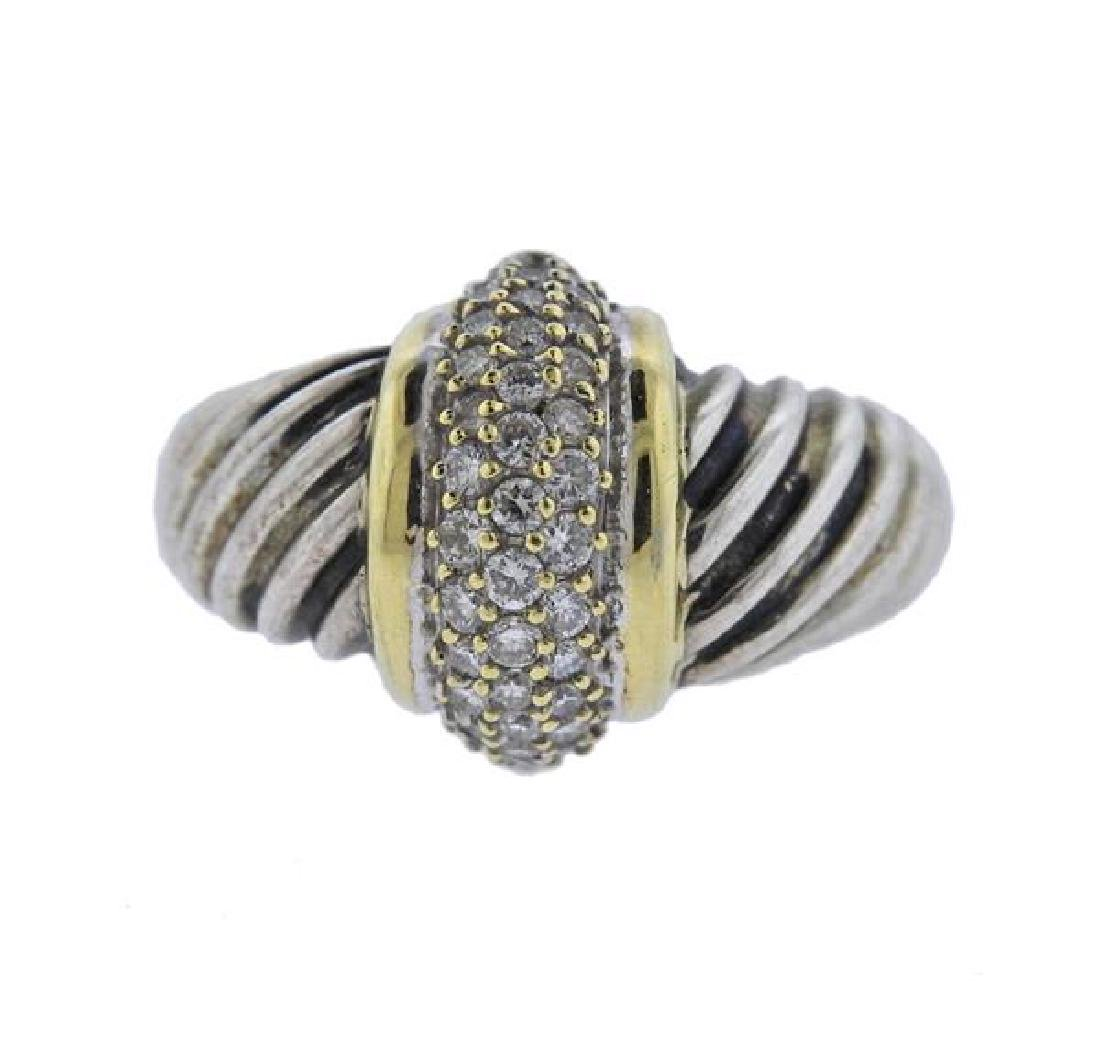 David Yurman 18K Gold Sterling Diamond Cable Ring