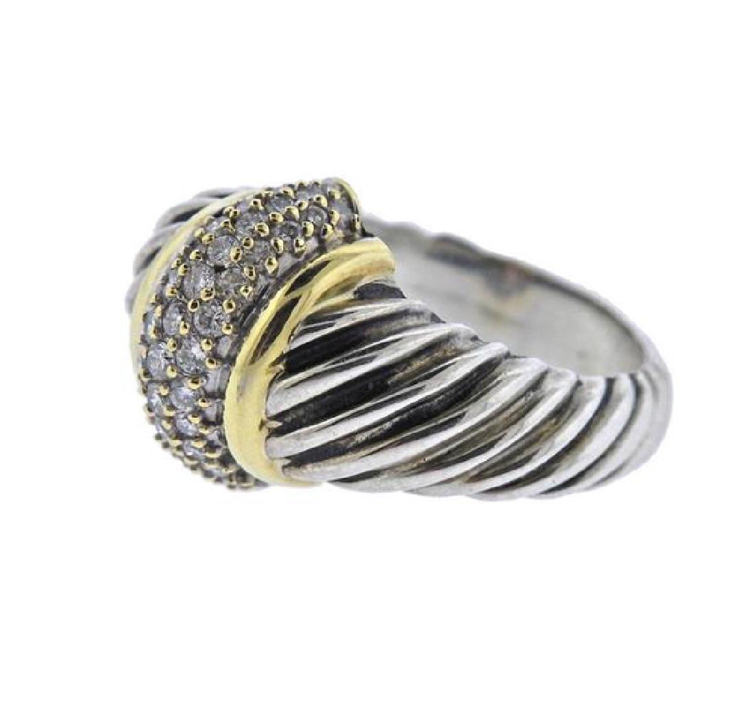 David Yurman 18K Gold Sterling Diamond Cable Ring - 2