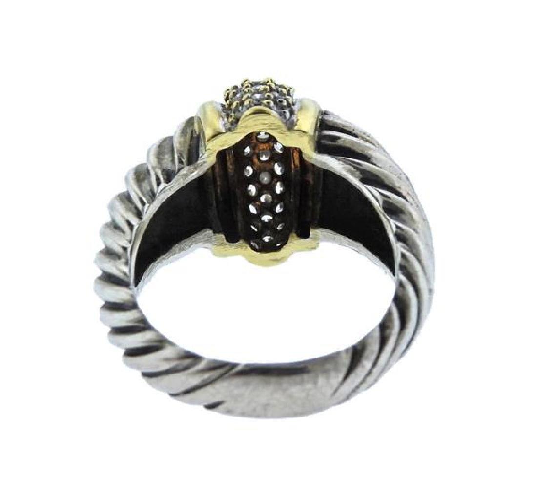 David Yurman 18K Gold Sterling Diamond Cable Ring - 3
