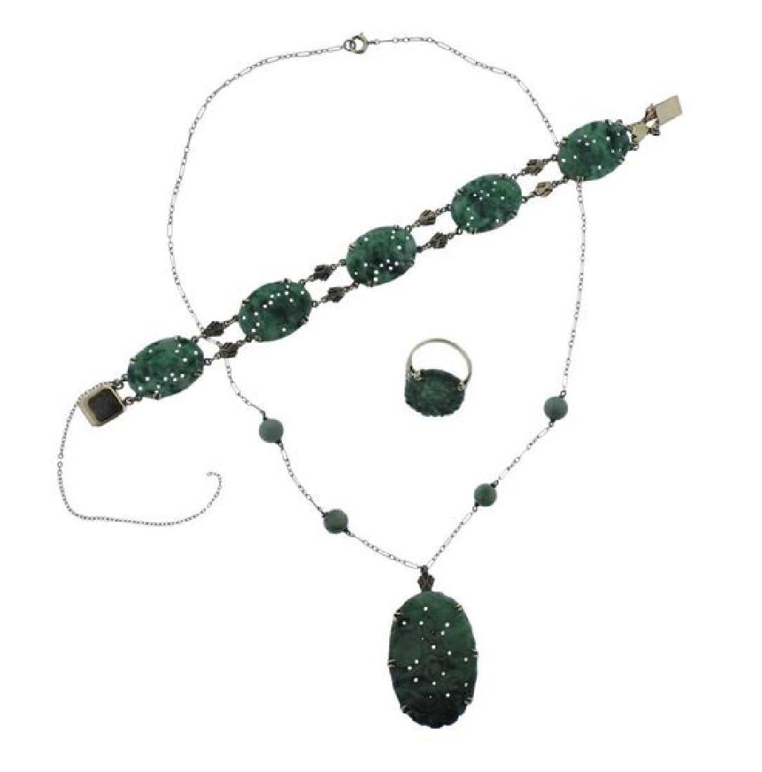 14K Gold Carved Jade Necklace Bracelet Ring Set
