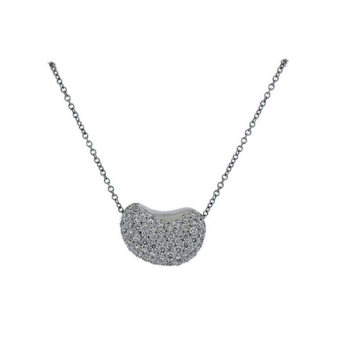 Tiffany & Co Peretti Platinum Diamond Bean Necklace