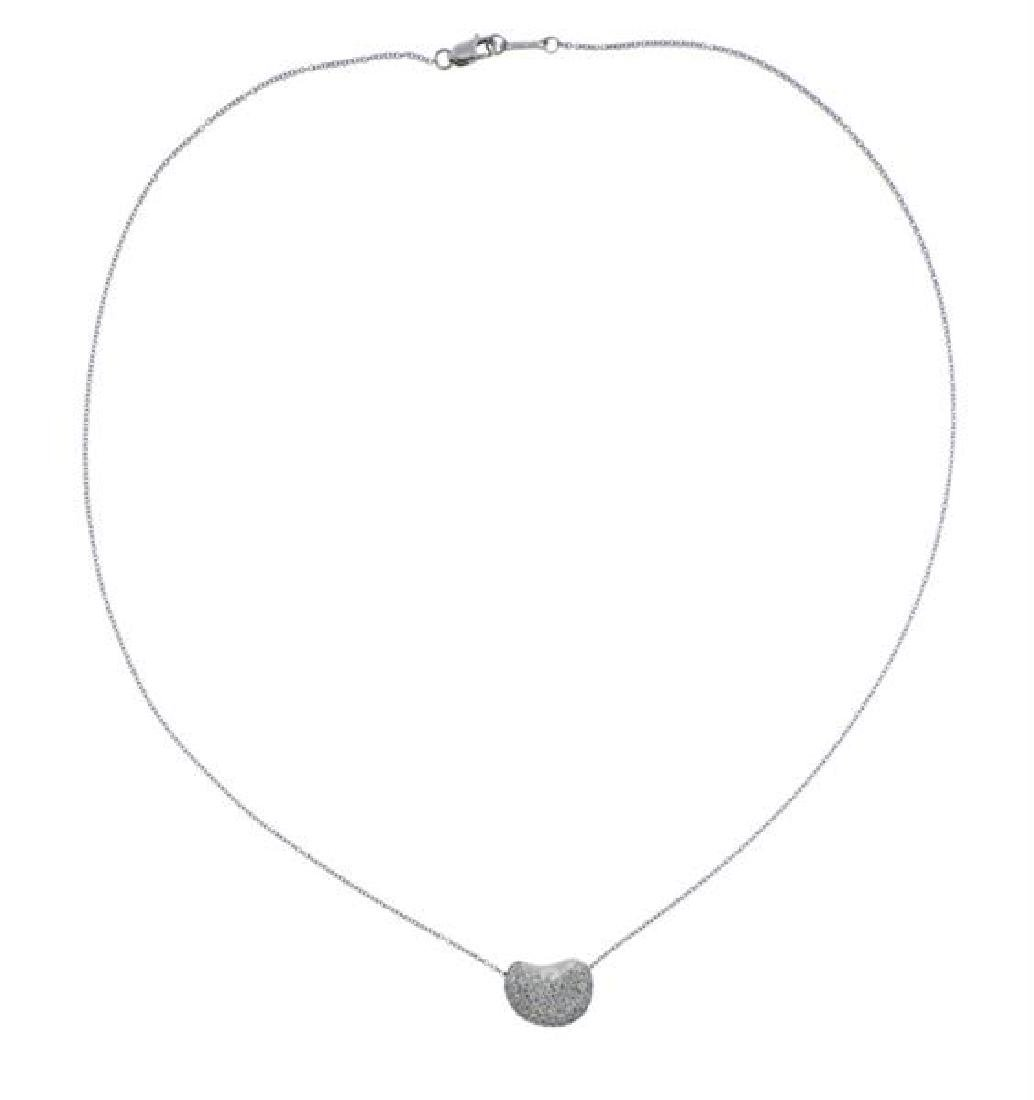 Tiffany & Co Peretti Platinum Diamond Bean Necklace - 2