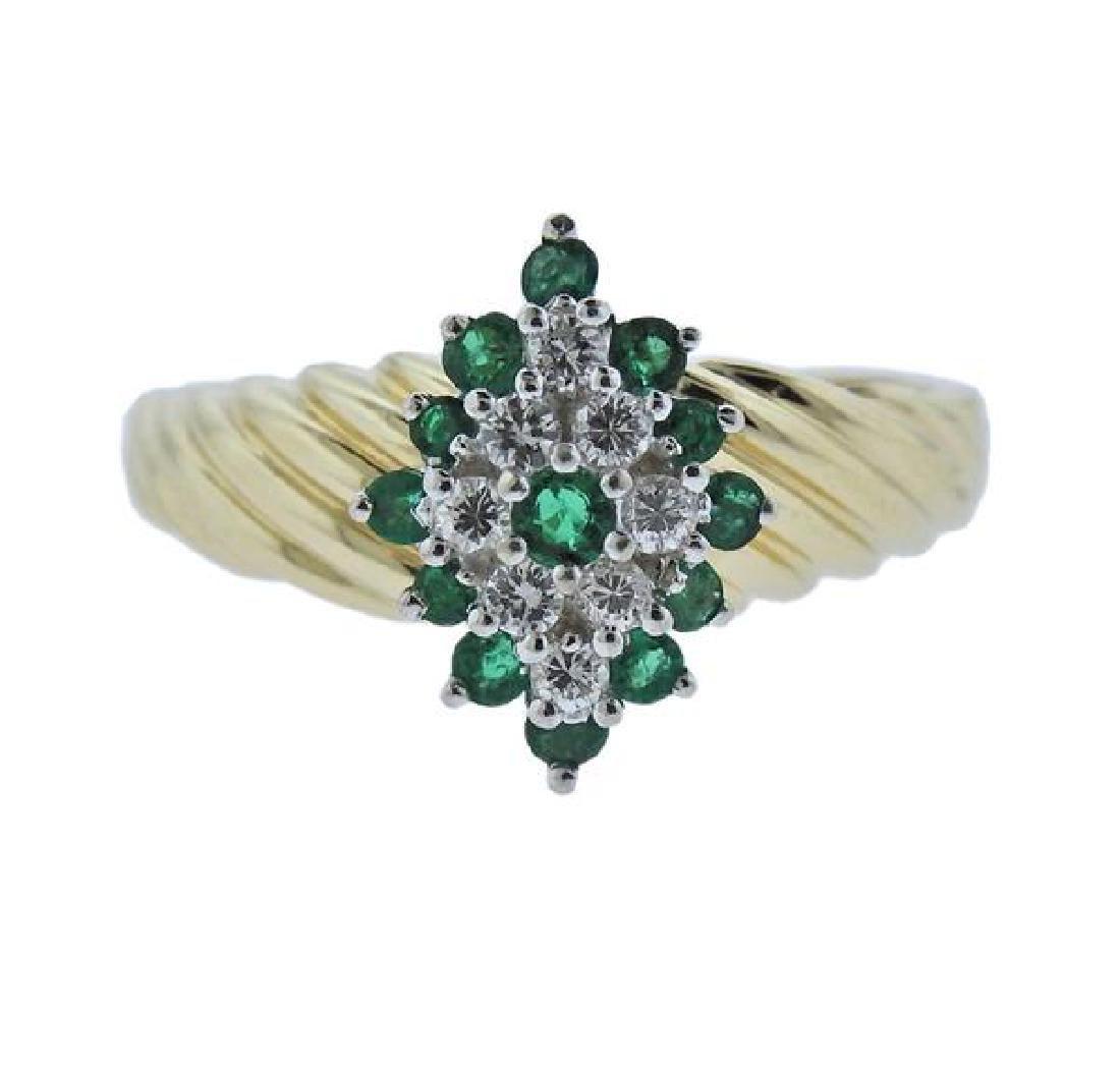 14K Gold Diamond Green Gemstone Ring