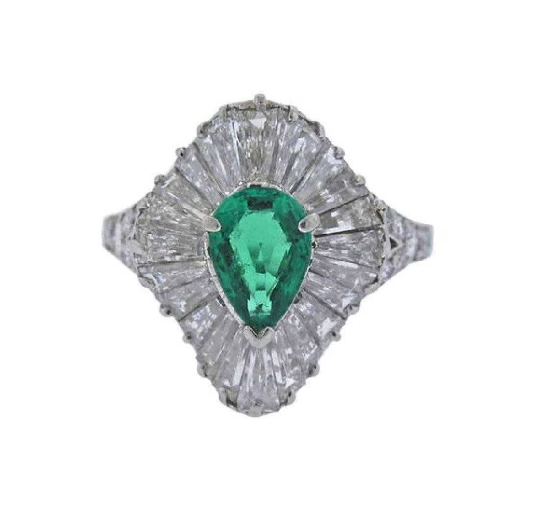 Tiffany & Co Platinum Diamond Emerald Ring