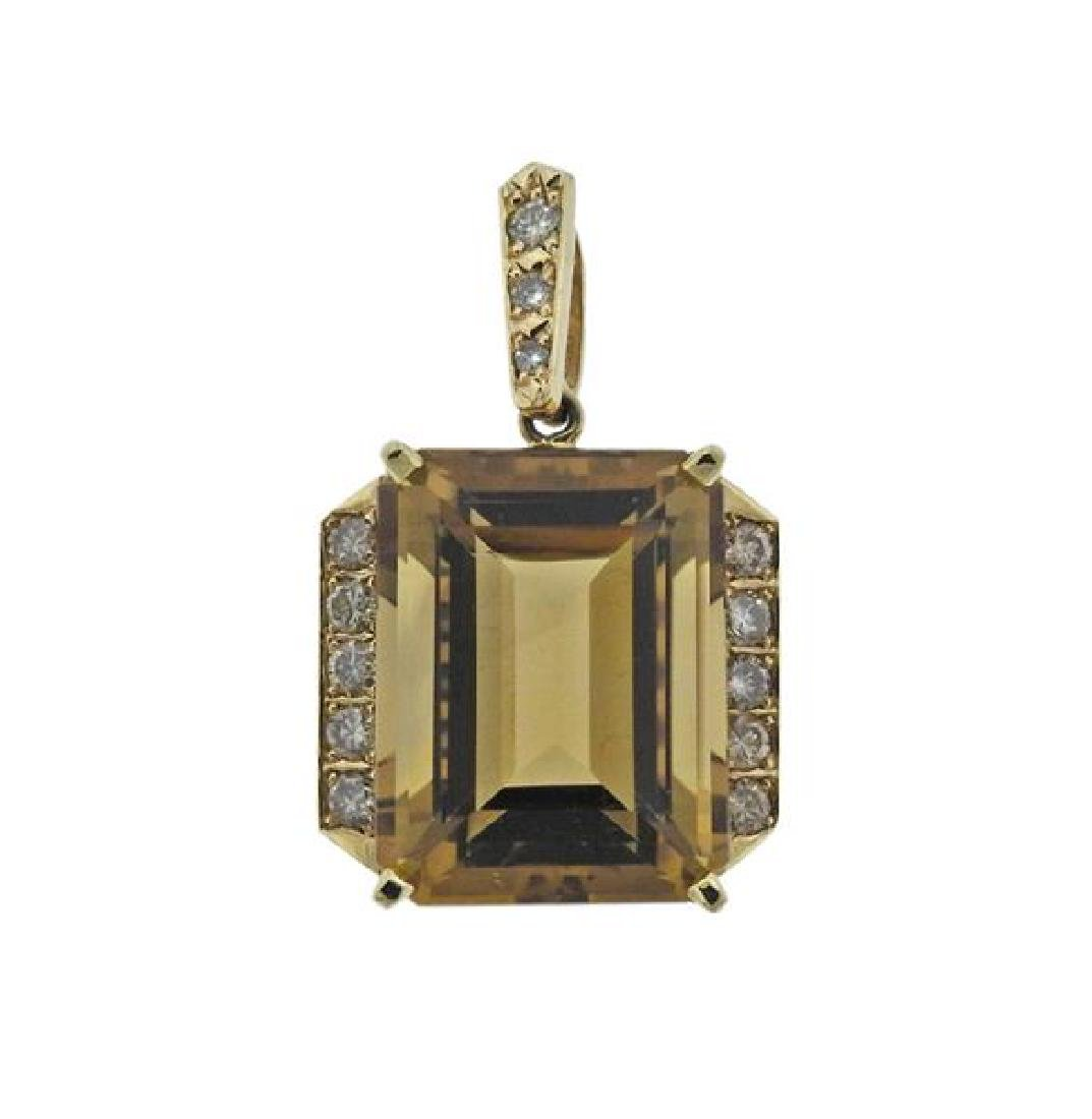 14K Gold Diamond Citrine Pendant