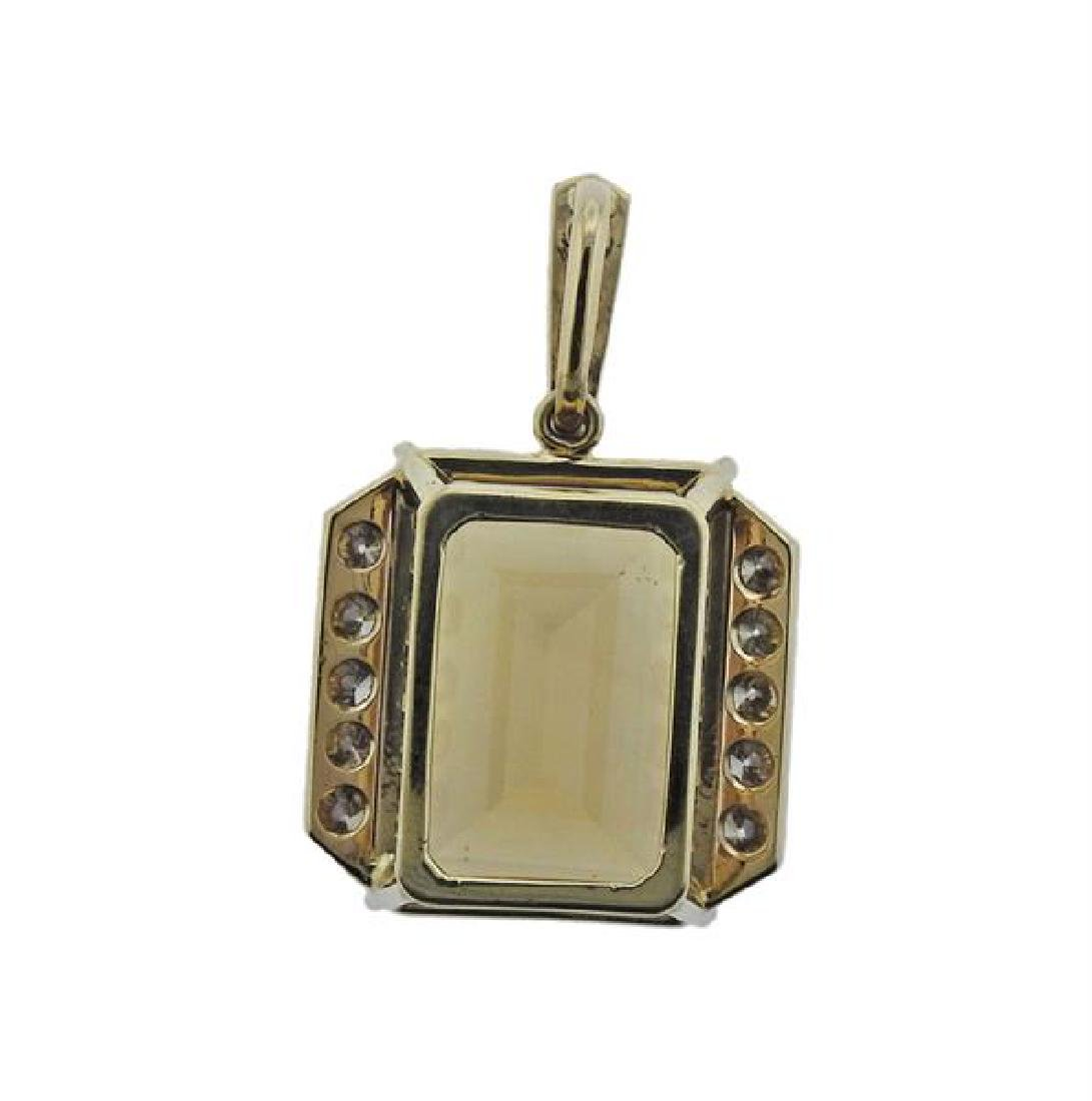 14K Gold Diamond Citrine Pendant - 3