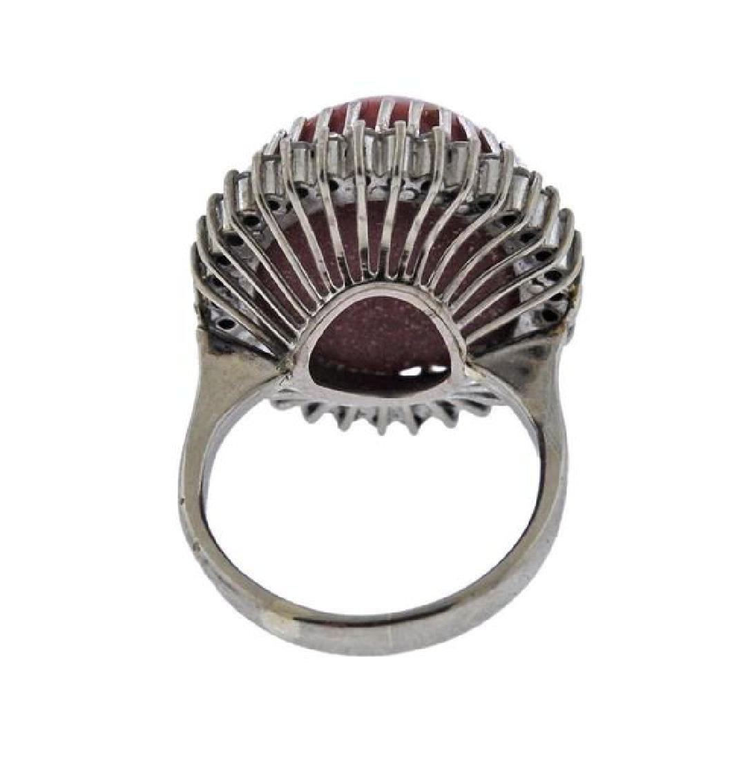 14K Gold Diamond Coral Cocktail Ring - 2