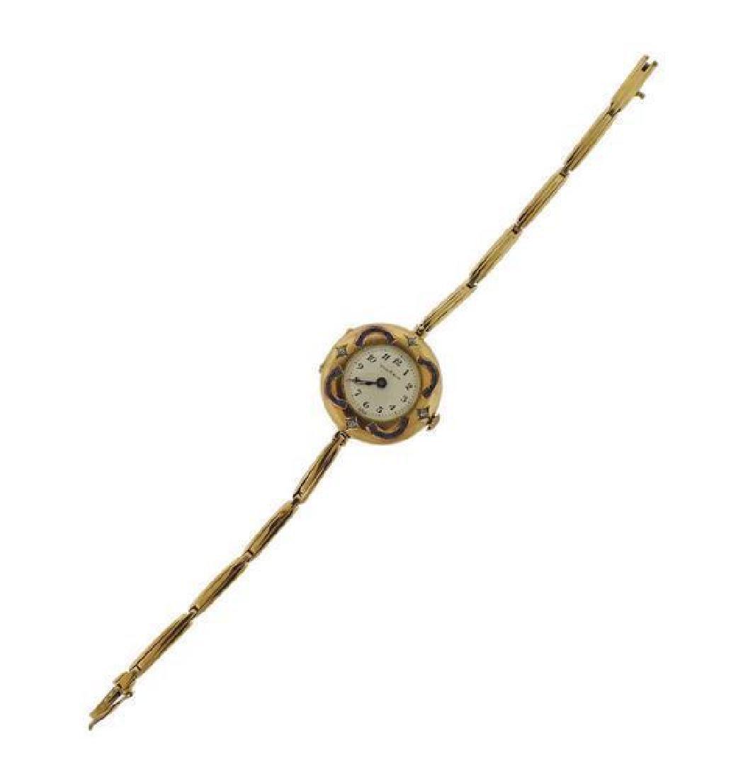 Vintage Vulcain 14k Gold Diamond Lady's Watch