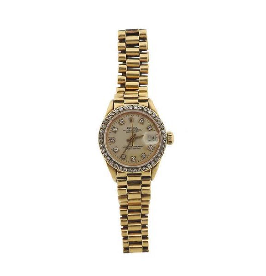Rolex Datejust 18k Gold Diamond Lady's Watch ref.