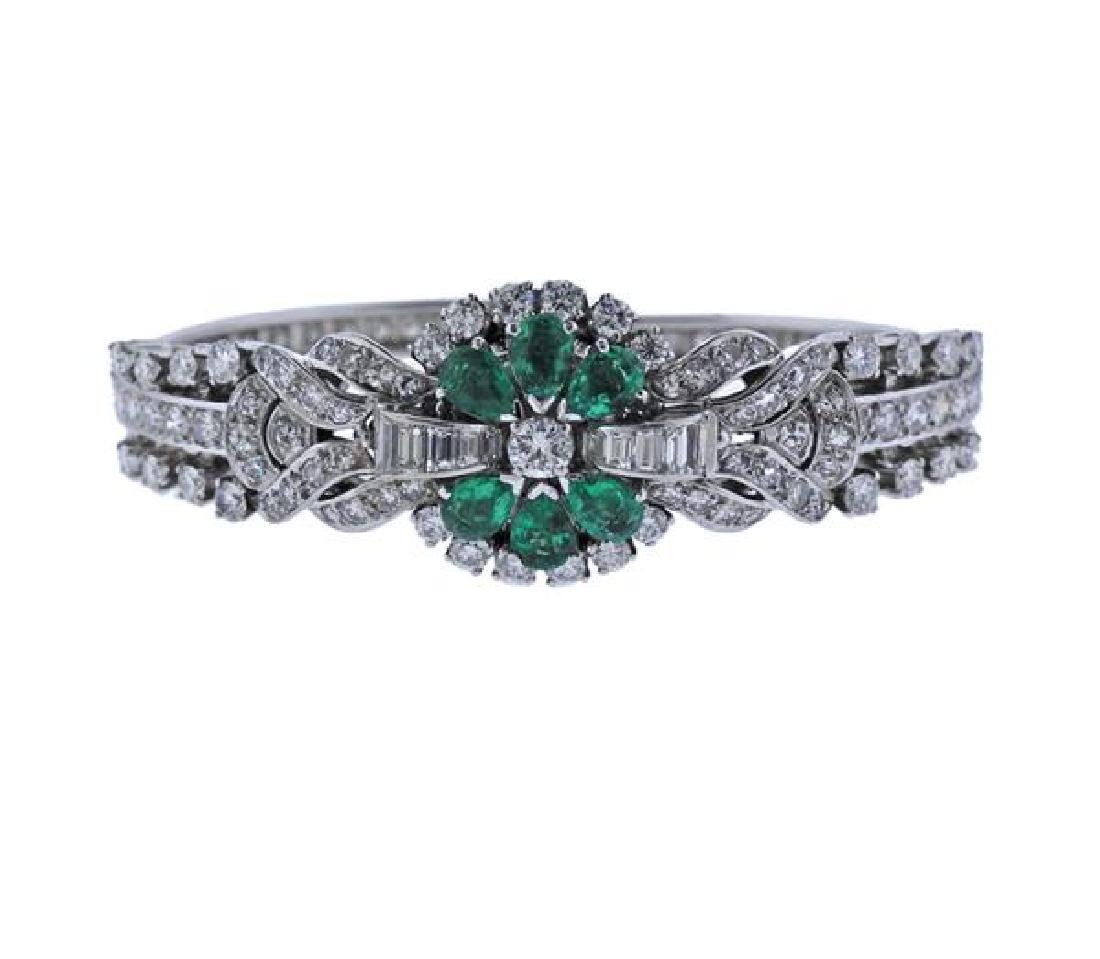 Gubelin Platinum Diamond Emerald Lady's Bracelet