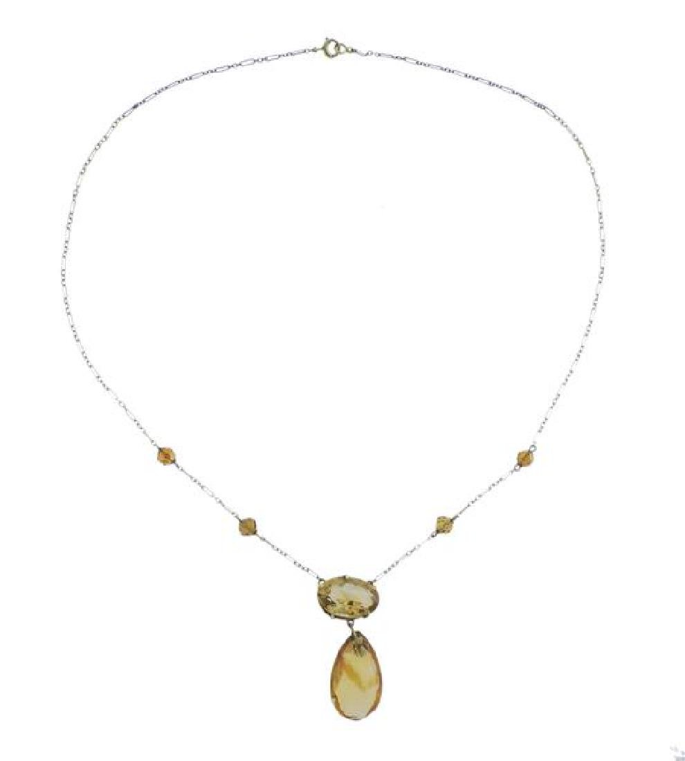 Antique 14K Gold Yellow Gemstone Drop Pendant Necklace