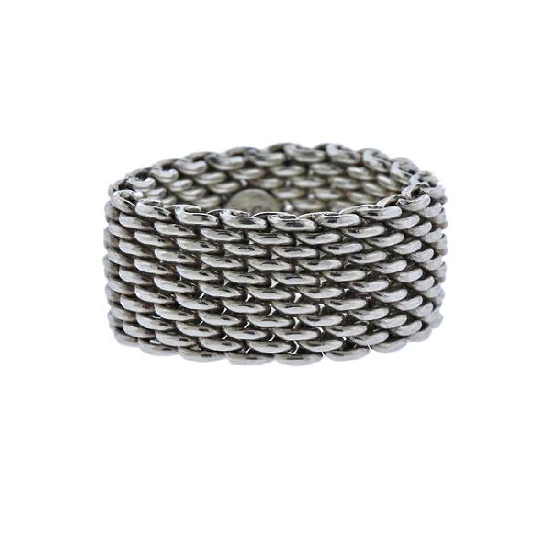 Tiffany & Co Somerset Sterling Silver Mesh Ring