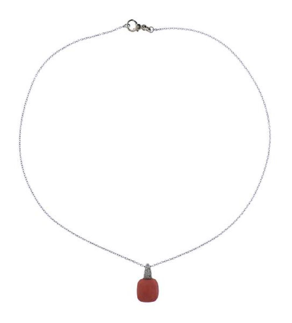 Pomellato Capri 18k Gold Diamond Coral Pendant Necklace