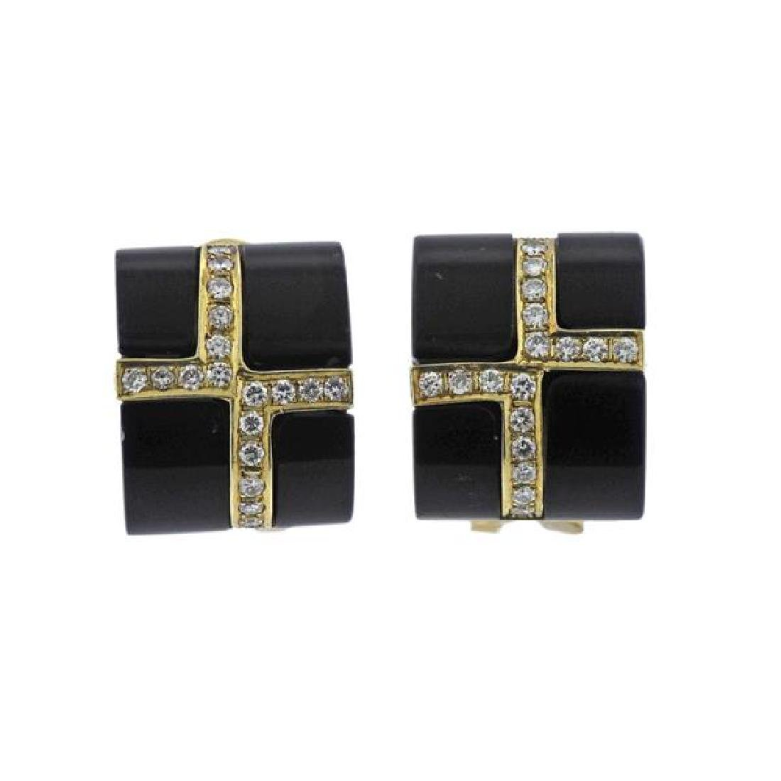 14K Gold Diamond Onyx Earrings