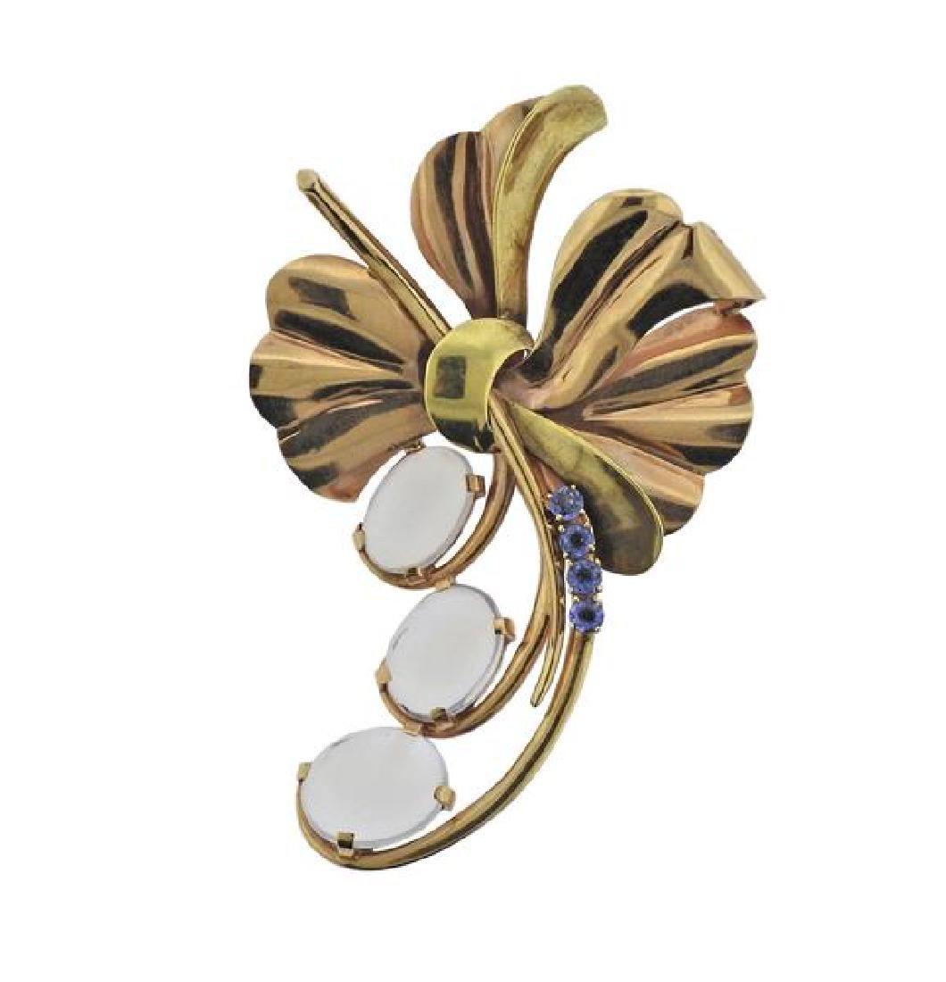Retro 14K Gold Moonstone Blue Gemstone Brooch