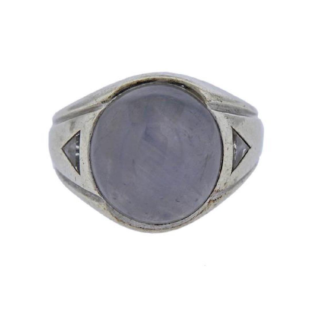 14K Gold Star Sapphire Diamond Ring