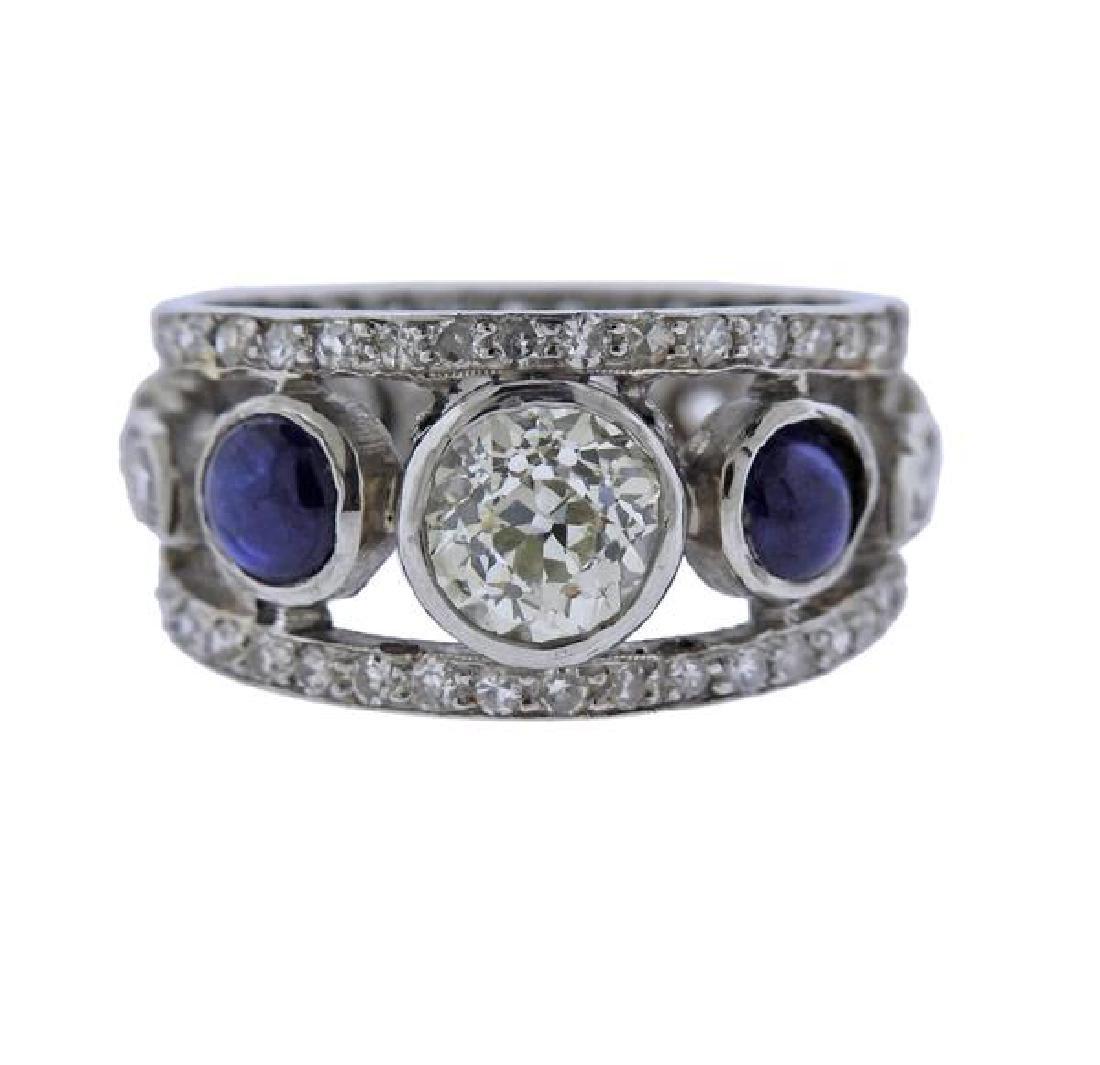 Platinum 1.40ct Diamond Sapphire Ring