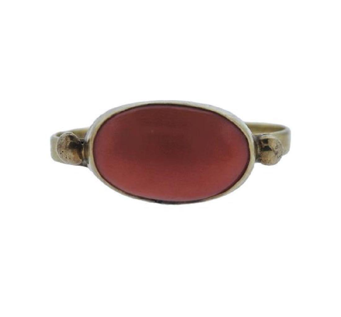 Antique 18k Gold Coral Ring