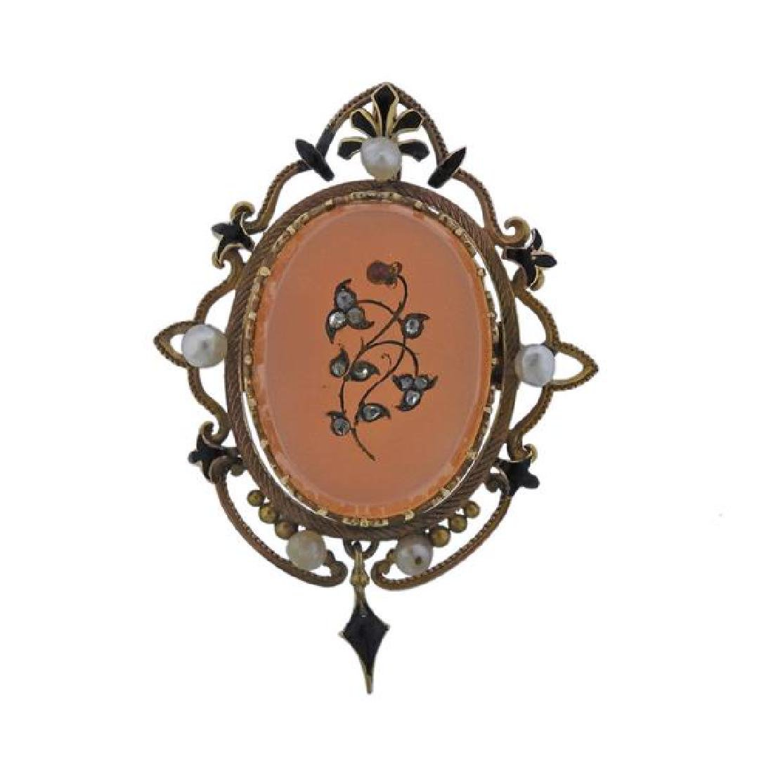Antique 14k Gold Agate Diamond Pearl Brooch Pendant
