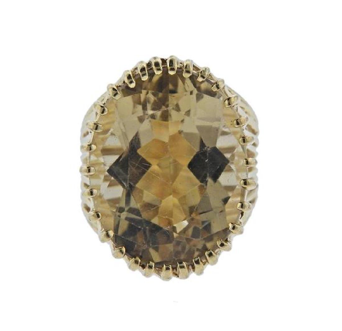 14k Gold Yellow Stone Ring