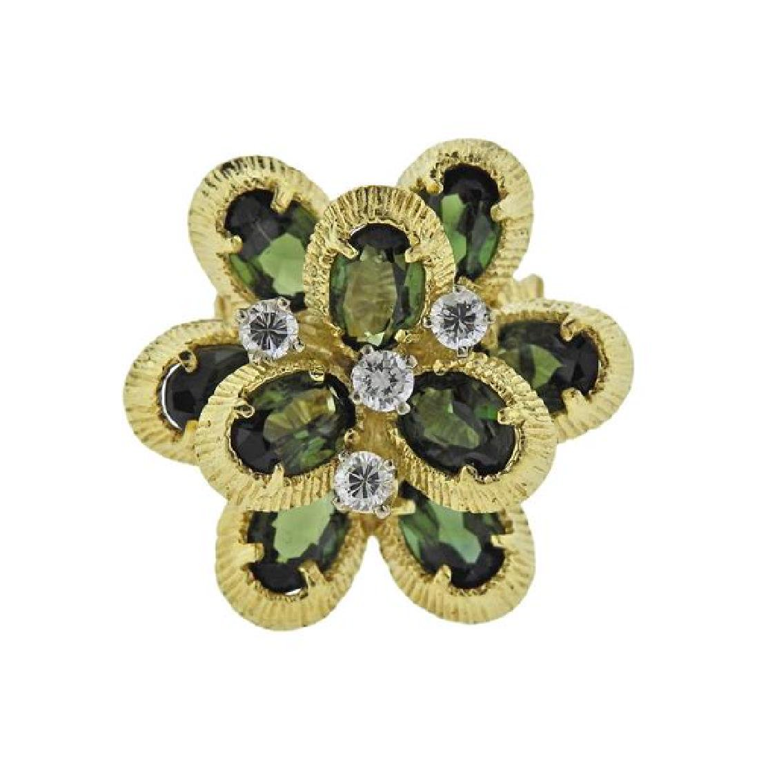 18K Gold Diamond Green Gemstone Ring