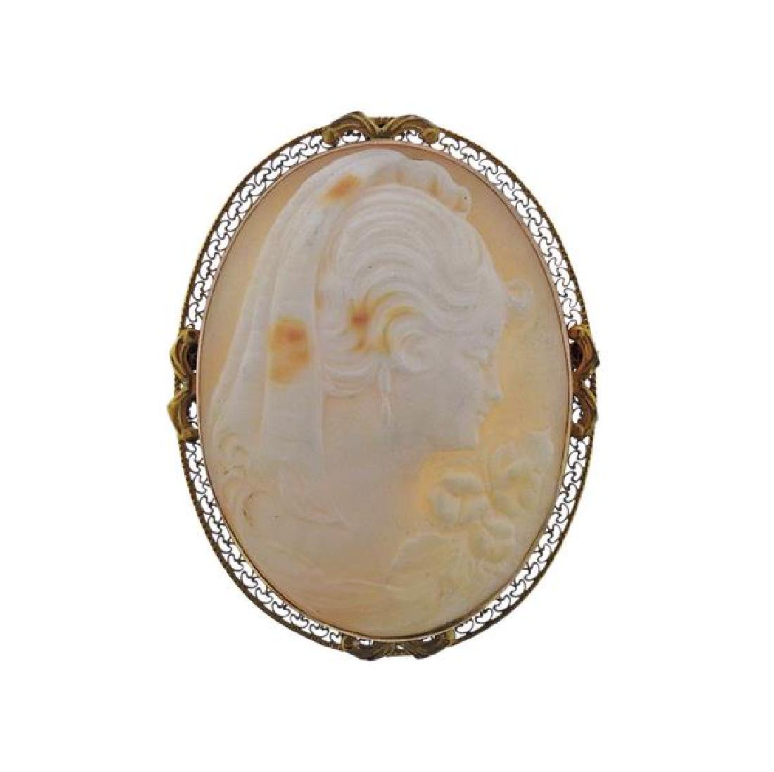 10K Gold Shell Cameo Brooch Pendant