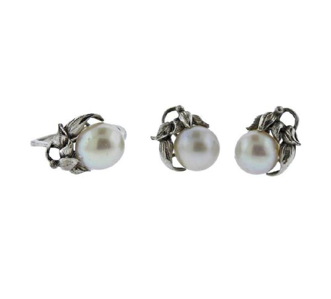 18k Gold Pearl Earrings Ring Lot