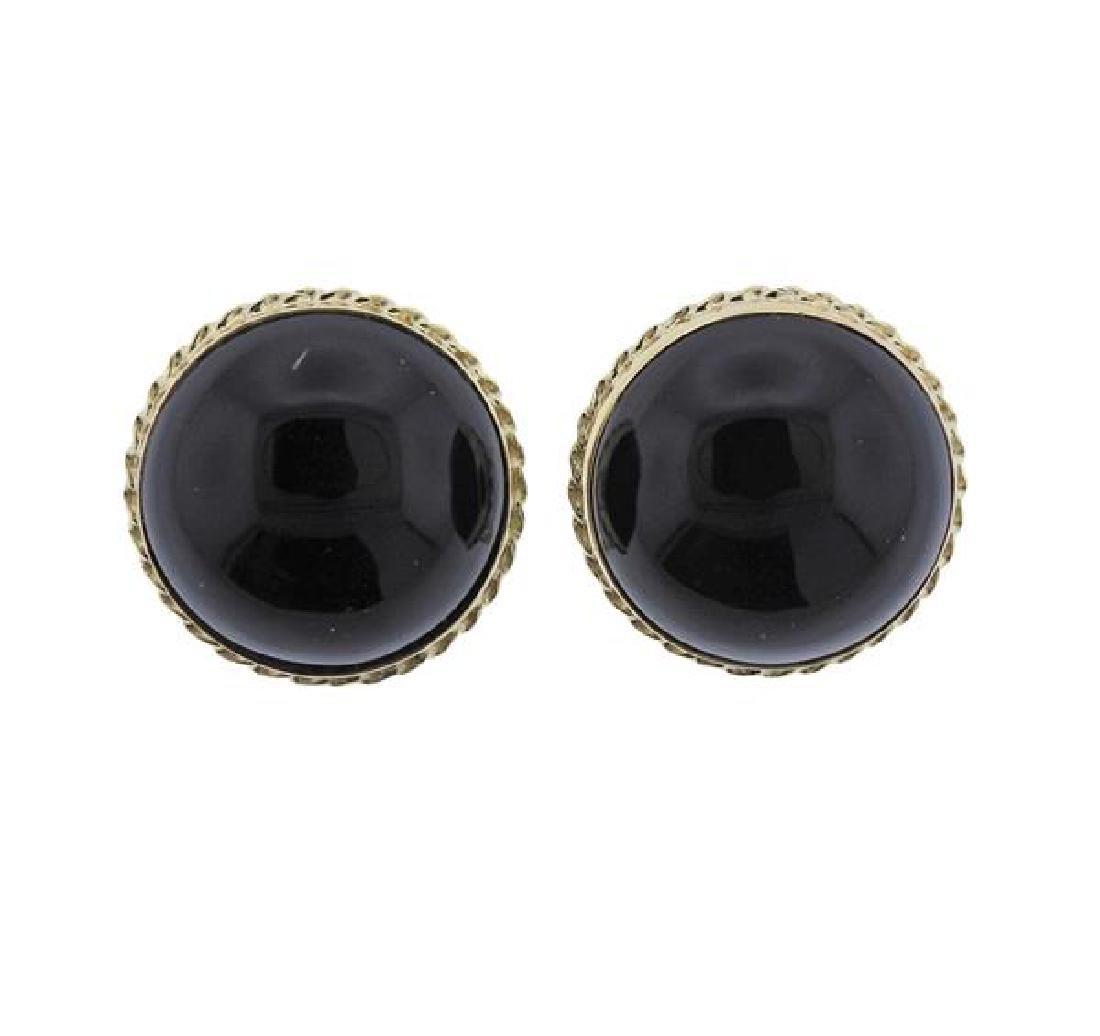 14k Gold Onyx Button Earrings