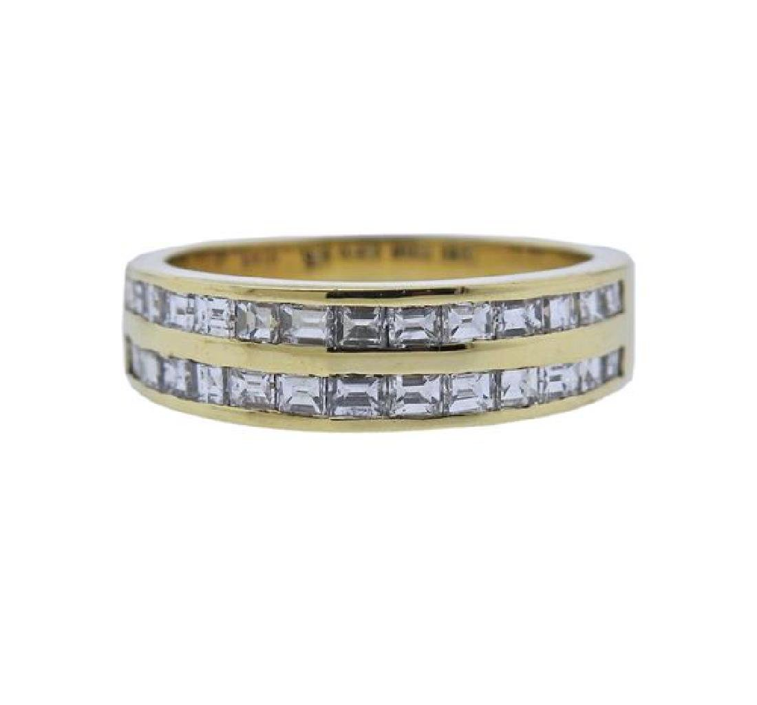 18k Gold Diamond Wedding Half Band Ring