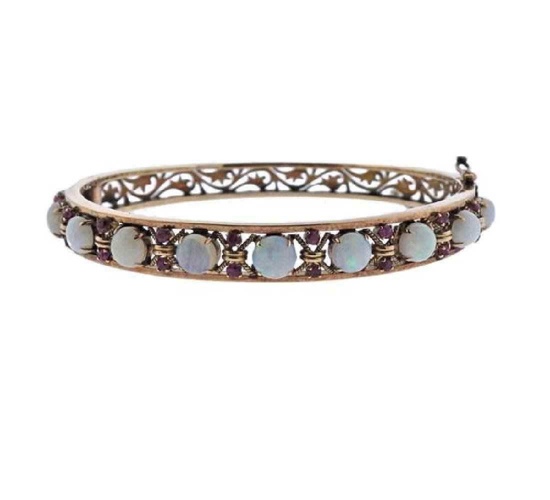 14k Gold Opal  Ruby Bangle Bracelet