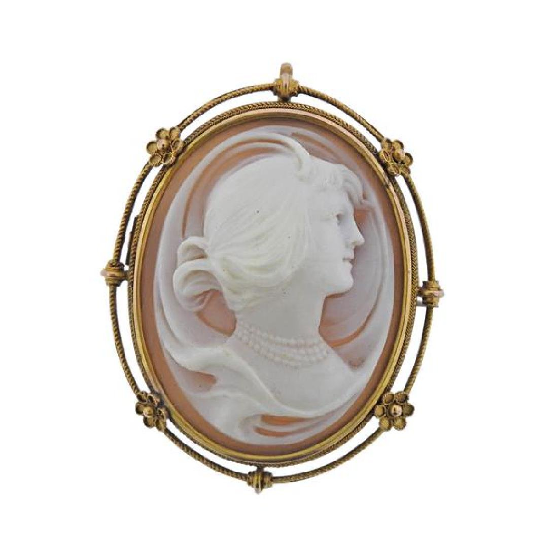 14K Gold Shell Cameo Brooch Pendant