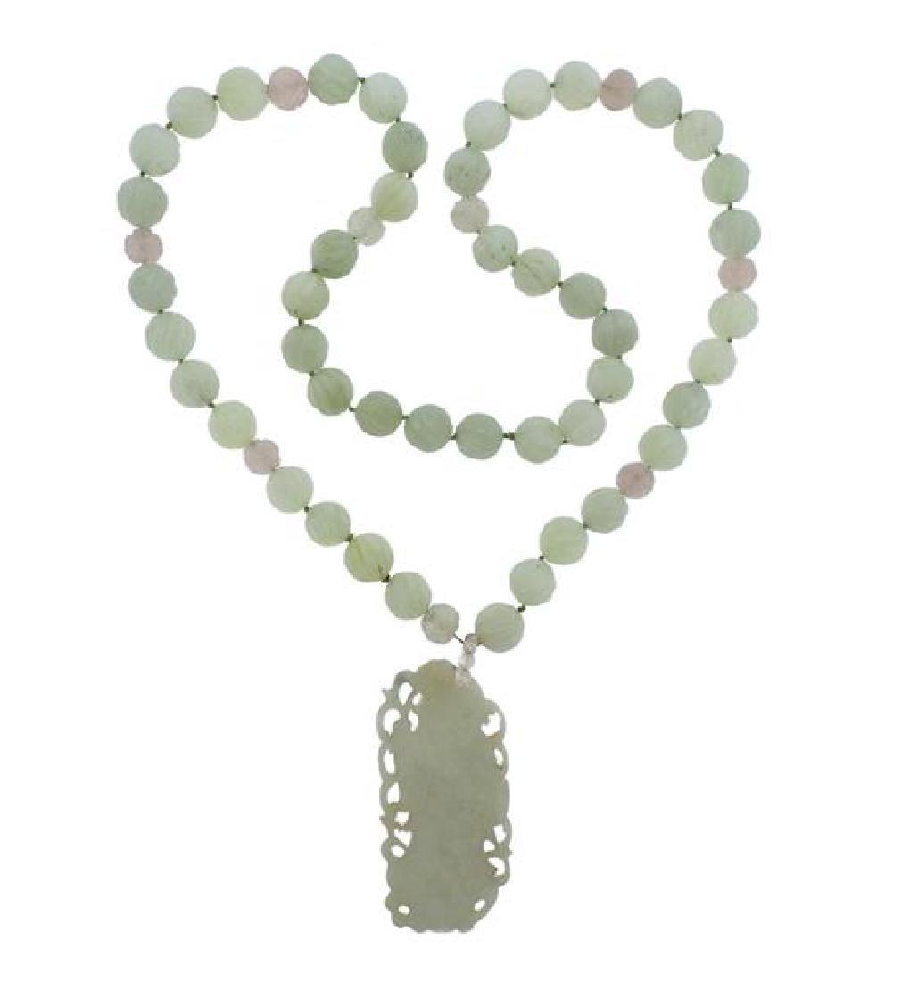 Carved Jade Pendant Necklace