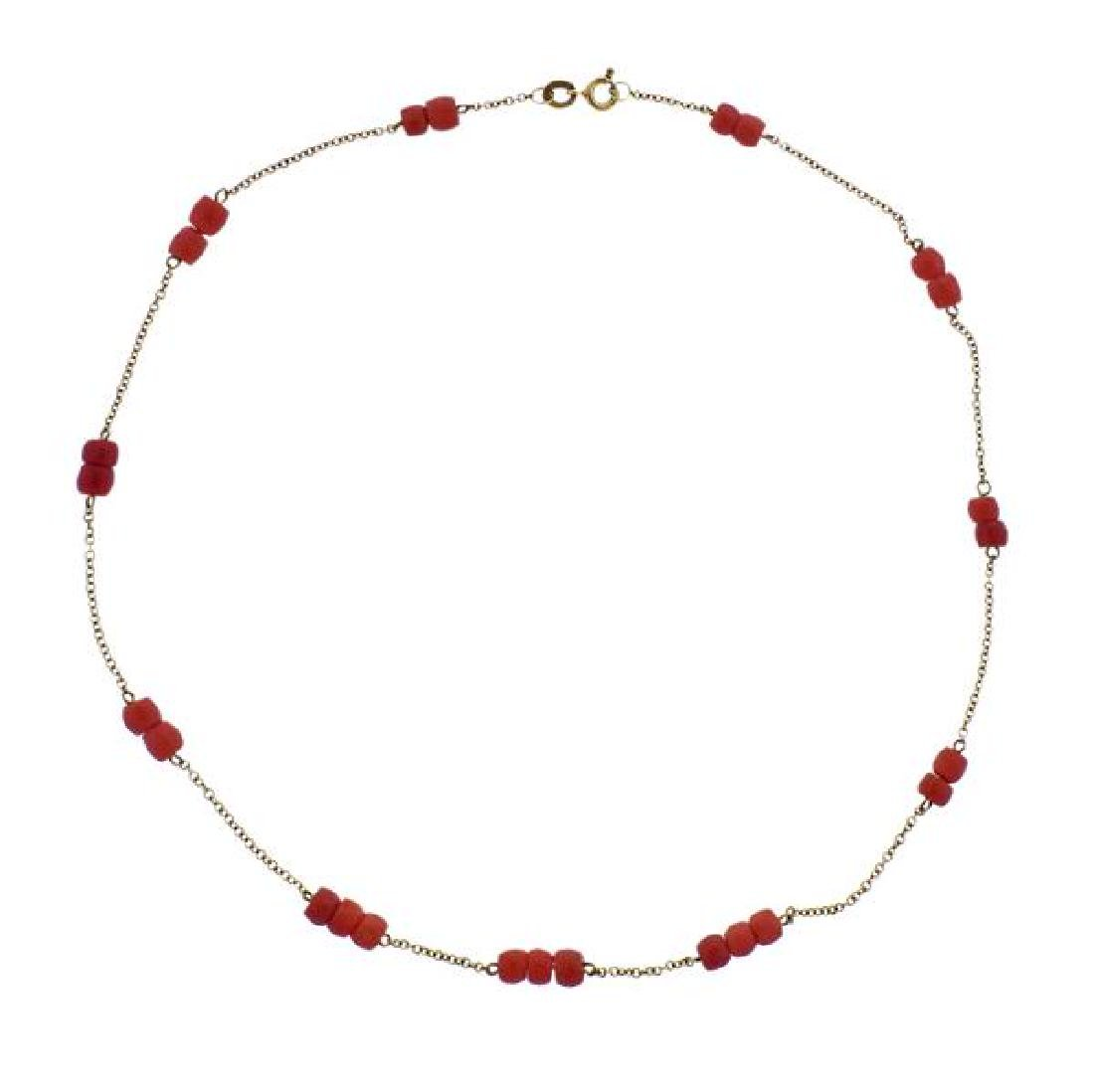 18k Gold Coral Station Necklace