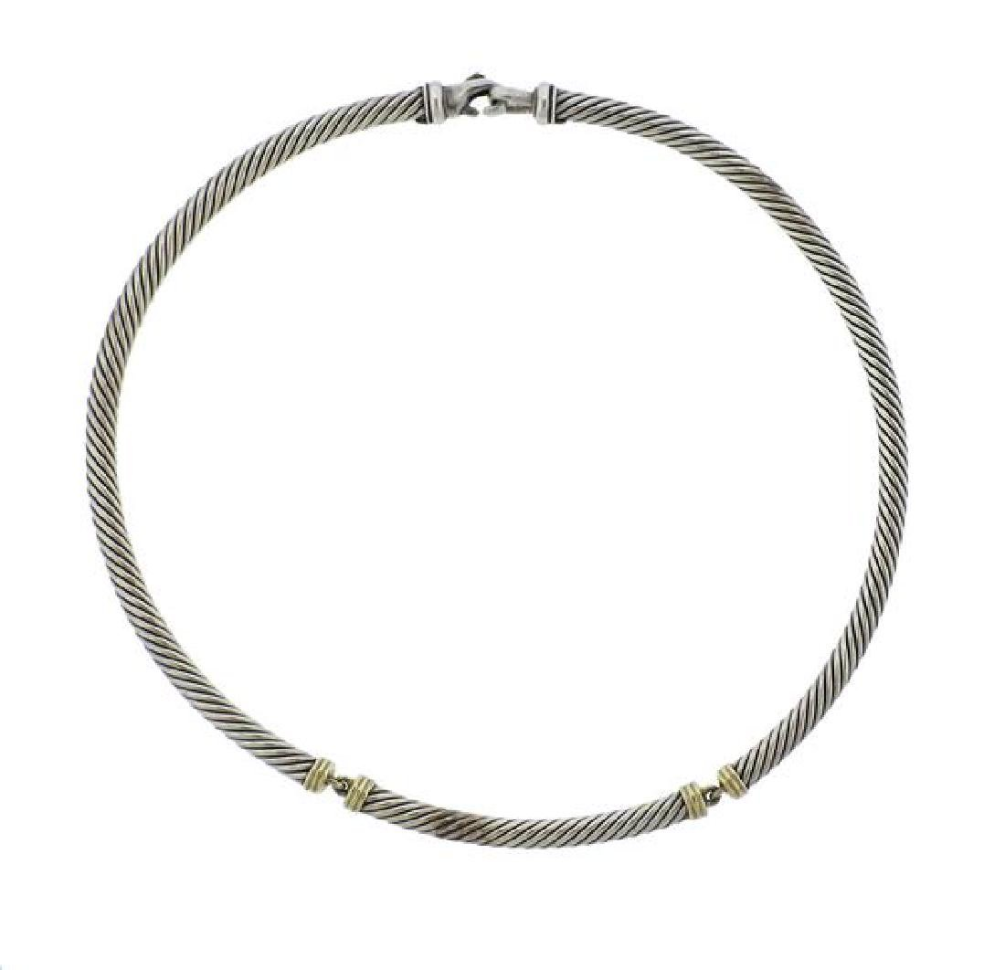 David Yurman Metro 14K Gold Sterling Cable Necklace