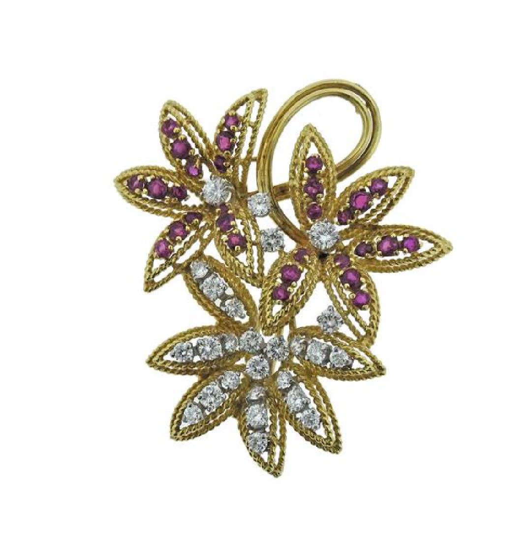 18k Gold Ruby Diamond Brooch Pendant