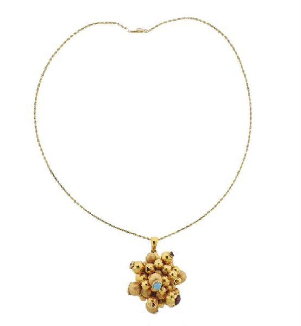 18k Gold Gemstone Pendant 14k Gold Necklace
