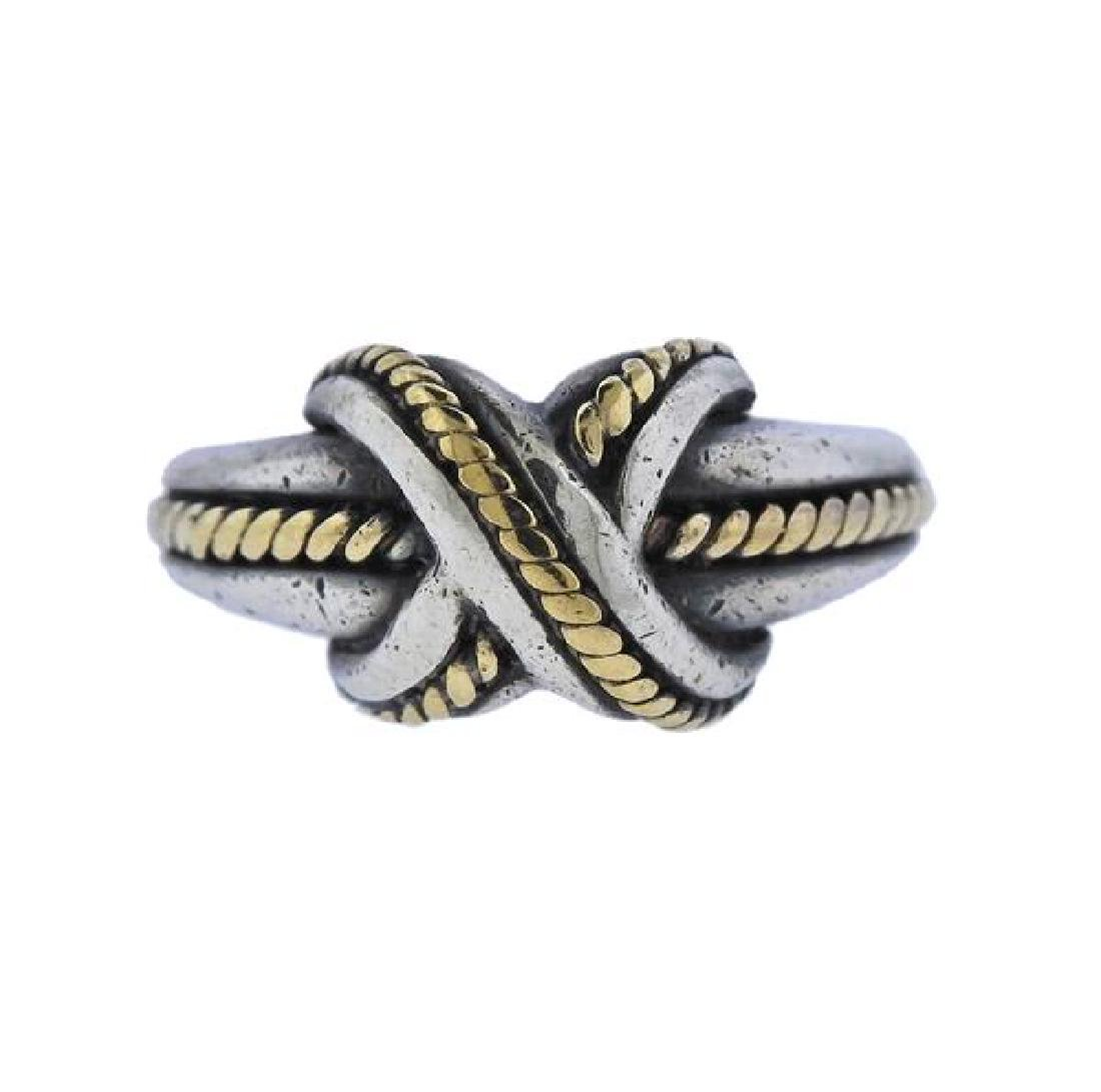 Tiffany & Co Sterling Silver 18K Gold X Ring