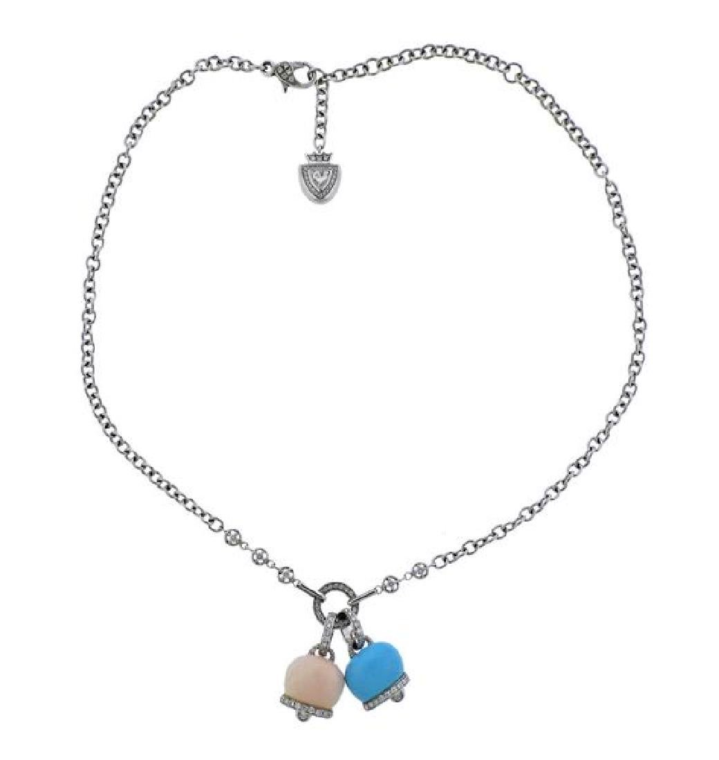 Chantecler Gold Diamond Coral Turquoise Charm Necklace