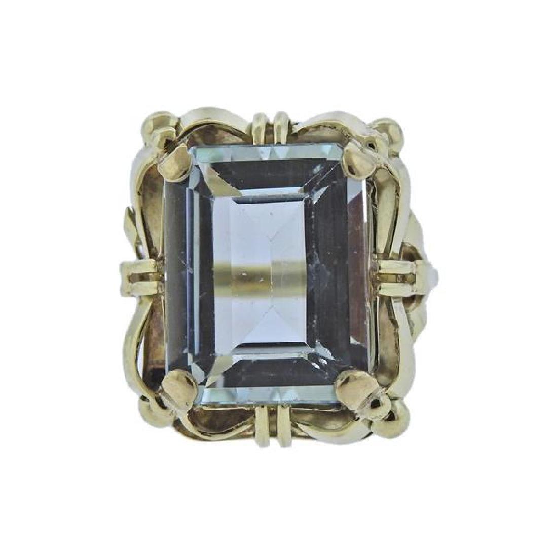 14K Gold Blue Gemstone Ring