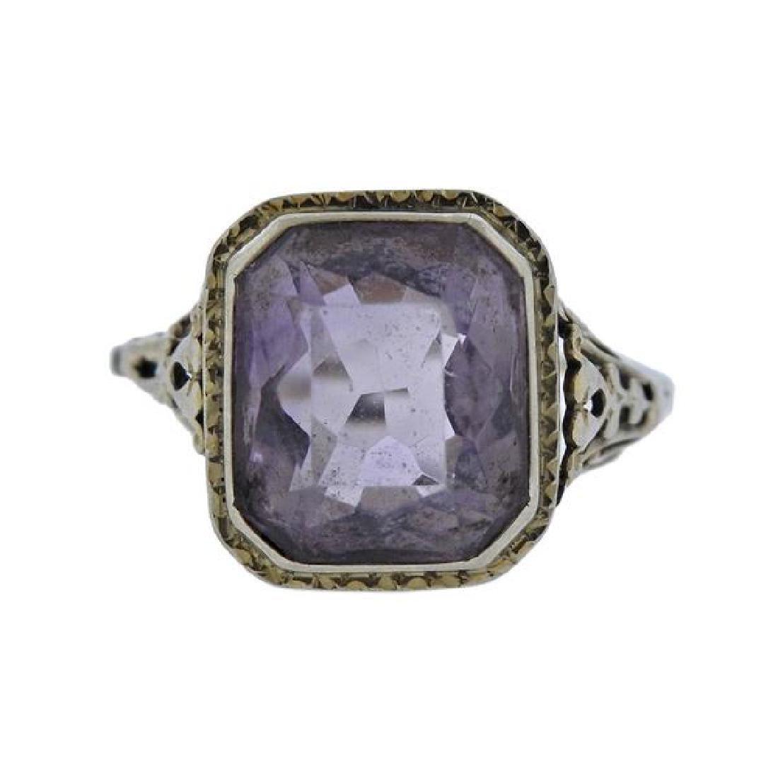 14K Gold Purple Gemstone Filigree Ring