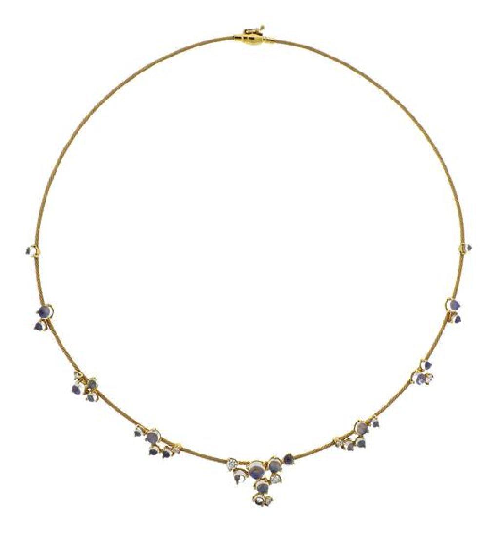Paul Morelli Moonstone Diamond 18k Gold Necklace